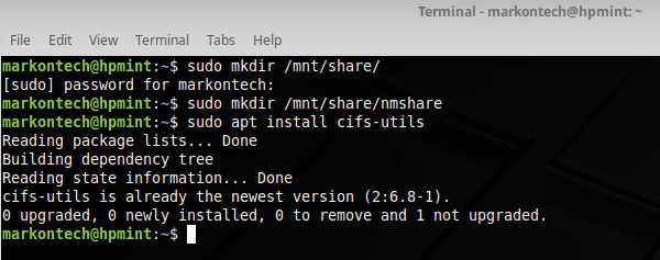 Mount a network shared drive on Linux